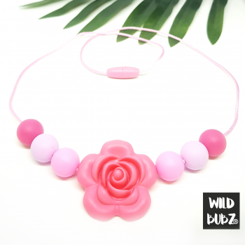 3+ Pink Rose | Silicone Chew Necklace Beads