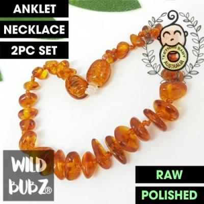 Golden Honey | Premium Baroque | Baltic Amber | Anklet - Necklace - or - Set