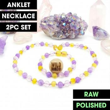 LUXE | Amethyst Aura Gemstone | Baltic Amber | WILDBUBZ® | Anklet - Necklace - or - Set