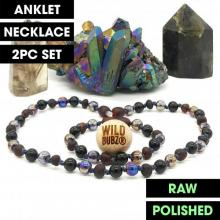LUXE | Black Aura | Max Raw | Gemstone Baltic Amber | WILDBUBZ® | Anklet - Necklace - or - Set