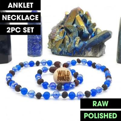 LUXE | Blue Aura | Max Raw | Gemstone Baltic Amber | WILDBUBZ® | Anklet - Necklace - or - Set