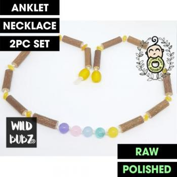 LUXE | Hazlewood | Unicorn Rainbow Gemstone Amber | WILDBUBZ® | Anklet - Necklace - or - Set