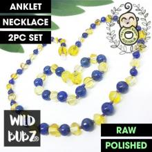 LUXE Lapis lazuli + Lemon Gemstone Amber | WILDBUBZ® | Anklet - Necklace - or - Set