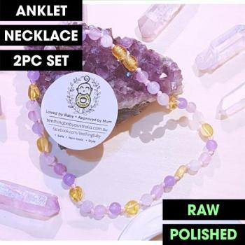 LUXE Lilac Ombre Rainbow Gemstone Amber | WILDBUBZ® | Anklet - Necklace - or - Set