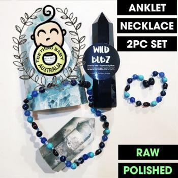 LUXE |Ombre | Luna| Lapis lazuli | Gemstone Amber | WILDBUBZ® | Anklet - Necklace - or - Set