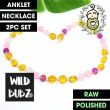LUXE Pink Agate Ombre Rainbow Gemstone Amber | WILDBUBZ® | Anklet - Necklace - or - Set
