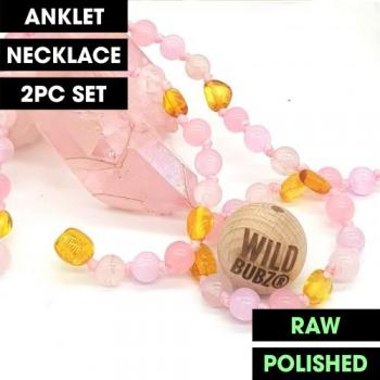 LUXE Pink Ombre Rainbow Gemstone Amber   WILDBUBZ®   Anklet - Necklace - or - Set