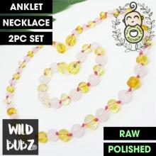 LUXE Pink Rose Quartz + Lemon Gemstone Amber | WILDBUBZ®
