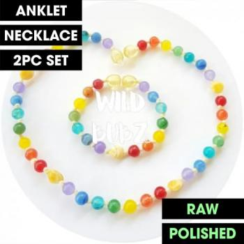 LUXE Rainbow Gemstone Amber   WILDBUBZ®   Anklet - Necklace - or - Set