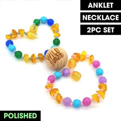 Ombre Unicorn Teething Jewellery | Amber + Gemstone | WILD BUBZ® | Anklet - Necklace - or - Set