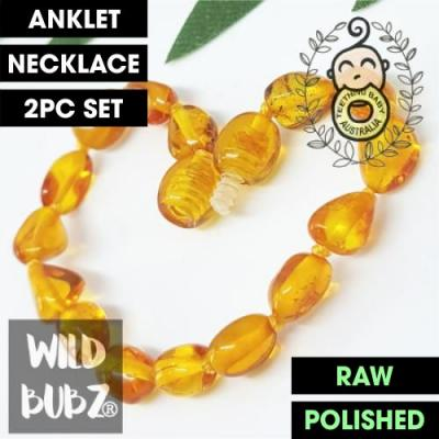 Golden Honey | Premium Bean | Baltic Amber | Anklet - Necklace - or - Set