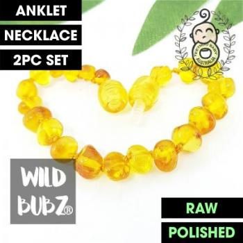 Honey | Premium Bud | Baltic Amber | Anklet - Necklace - or - Set