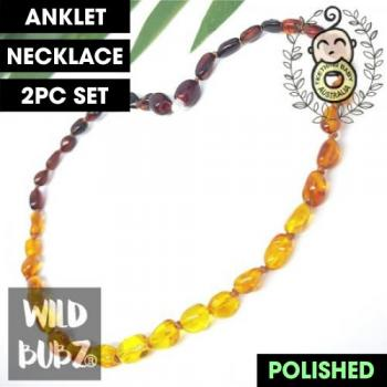 LUXE | Premium Bean | Honey Ombre | Baltic Amber | Anklet - Necklace - or - Set