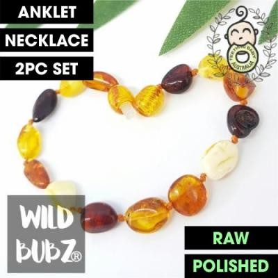 Rainbow | Premium Bean | Baltic Amber | Anklet - Necklace - or - Set