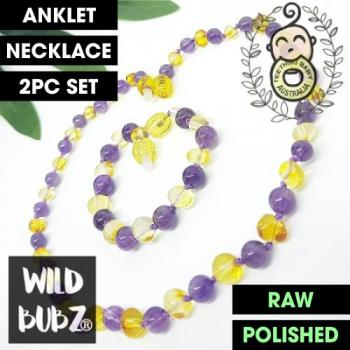 LUXE Amethyst + Lemon Gemstone Amber | WILDBUBZ® | Anklet - Necklace - or - Set