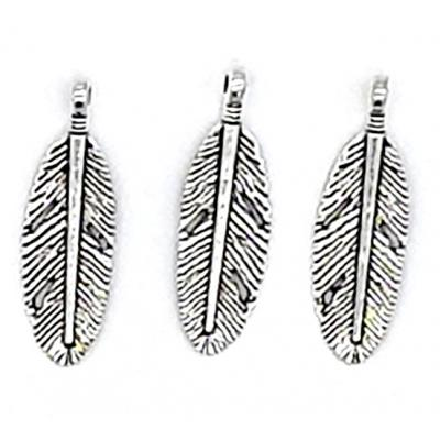 30mm Silver Feather Charm Pendant | as low as $0.89