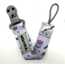 WILD BUBZ® | Flexi Safe Dummy Clips | Grey Unicorns + Rainbows