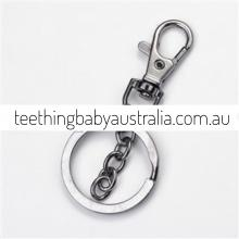 Silver Gunmetal Grey Key Ring / Key Chain / Clasps