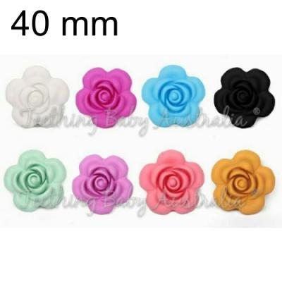 40mm Rose Flowers - Silicone Beads - Food Grade