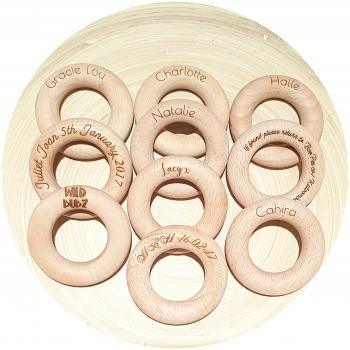 Beech Wood Teething Ring Teether Toy | Plain or Optional Engraving | 65mm x 15mm