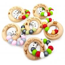 10 x Wholesale | LIMITED EDITION | My 1st Christmas Motif Wood Rings | Silicone Beaded | Safety Certified | WILDBUBZ®