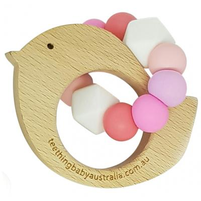 Ombre | Silicone + Beech Wooden | Teething Toy | WILD BUBZ® | Optional Name Engraving + Shapes