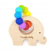 WILDBUBZ® Bright Rainbow | NATURE Shape | Beech Teether Toys | Optional Engraving