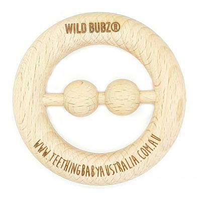 SCANDI | Beech Wood | RATTLE Teether Toy | WILD BUBZ® | Optional Name Engraving
