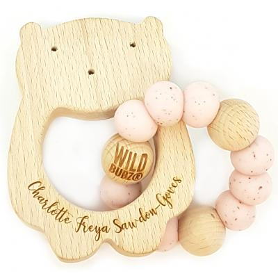 MODERN Woodland Bear TEETHER TOY | FREE ENGRAVING