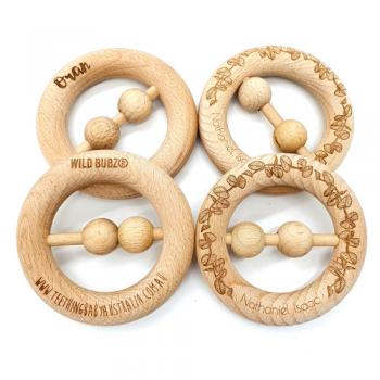 Etched Australian Flora + Fauna | Raw Beech Wooden | RATTLE Teether Toy | WILDBUBZ®