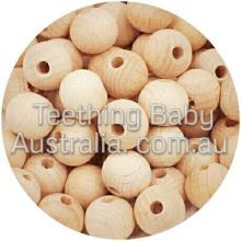 30mm | Beech Round | SMOOTH Wood | Natural Beads | Safety Compliant  | as low as $0.99