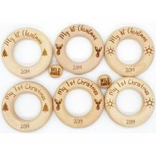 LIMITED EDITION | My 1st Christmas Motif Wood Rings | 65mm | Safety Certified | WILDBUBZ®