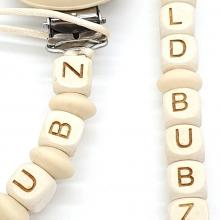 Etched Alphabet Letter Wood Beads - 10mm | as low as $0.68