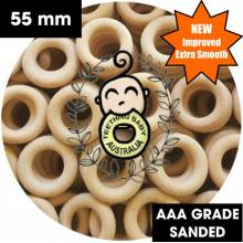 Wood Rings | Beech | Raw Eco Natural | 55mm | Sanded | AAA Grade | Compliant