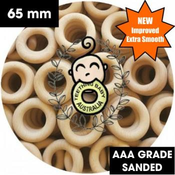 Wood Rings | Beech | Raw Eco Natural | 65mm | Sanded | AAA Grade | Independently Safety Certified | As low as $2.90 each
