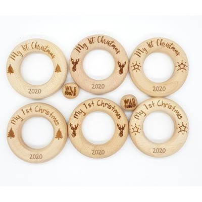 LIMITED EDITION | My 1st Christmas Motif Wood Rings |65mm | non branded| Safety Certified | as low as $4.69
