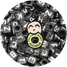 Alphabet Letter Beads X 50 - 8mm - Black Acrylic