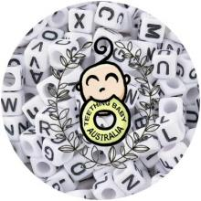 Alphabet Letter Beads - 10mm - White Acrylic | as low as $0.59
