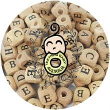 Alphabet Letter Beech Wood Beads - 12mm | as low as $0.59