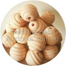 20 mm Bee Hive Beech Wood Eco Natural Beads **NEW**