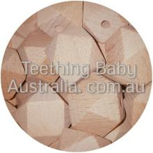 12 x 12mm Faceted BEECH Wood Eco Natural Beads