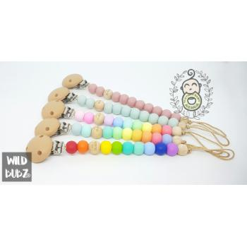 RAINBOW PASTELS | silicone dummy clip | Soother Holder - WILD BUBZ®