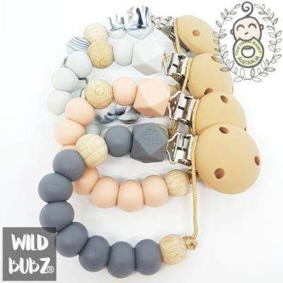 NEUTRAL BASICS | silicone dummy clip | Soother Holder  | WILD BUBZ®