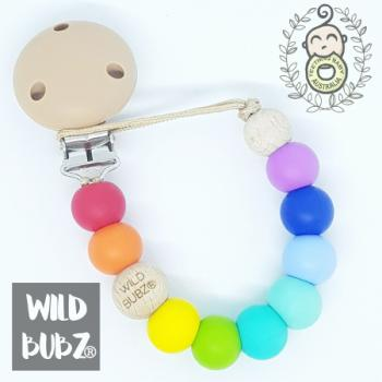 RAINBOW BRIGHT | silicone dummy clip | Soother Holder - WILD BUBZ®