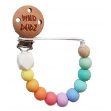 Neutral palette - Pastel Rainbow Dummy Chain | WILD BUBZ® | Optional Baby Name