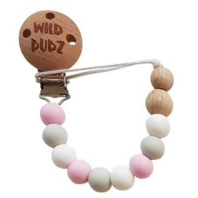 Neutral / Pink - Dummy Chain | WILD BUBZ® | Optional Baby Name