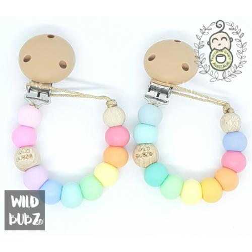 Pastel Blue Aqua Rainbow Hex compliant Dummy Chain Clip WILDBUBZ\u00ae Safety Test CERTIFIED Soother Holder EN12586 safety tested