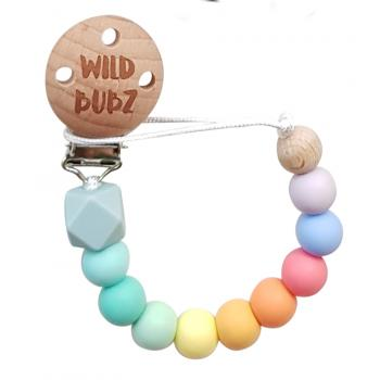 Blue palette - Pastel Rainbow Dummy Chain | WILD BUBZ® | Optional Baby Name