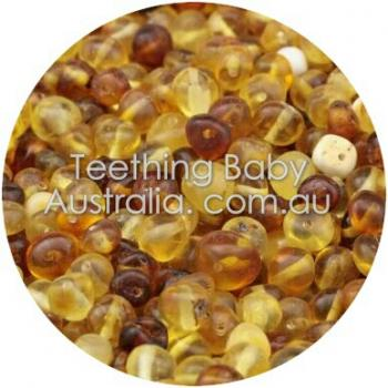 6mm Polished honey ombre premium bud amber beads
