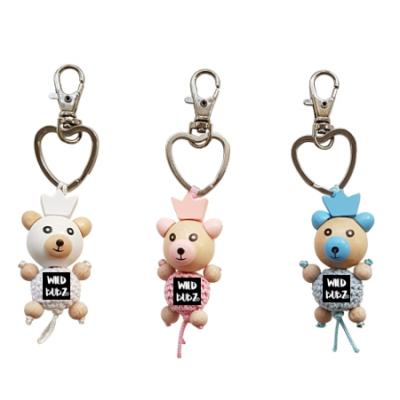 Baby Bear crochet wood keyring - by WILD BUBZ®
